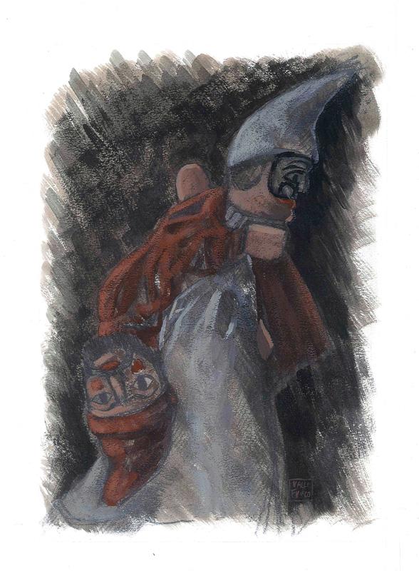 Le Guarattelle tra Pulcinella Teresina e la Morte, 2003, di Roberto De Simone, editore Franco Di Mauro Napoli, 16 tavole fuori testo di Gennaro Vallifuoco. Copertina del volume