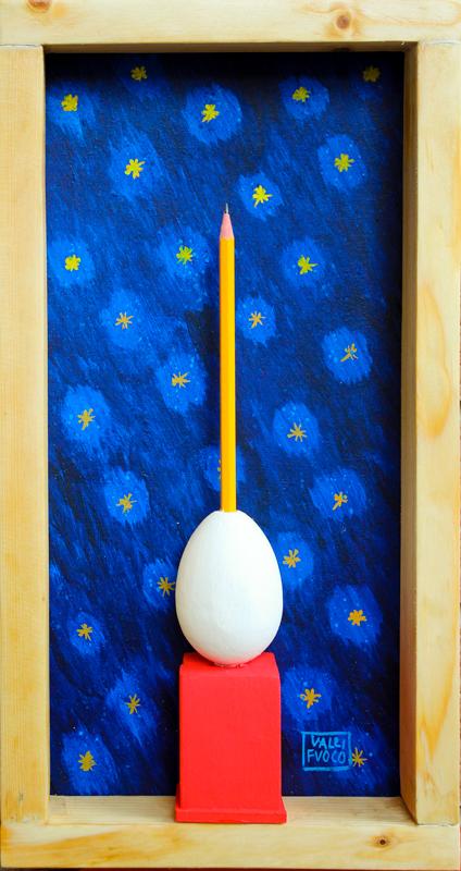 Omaggio ad Ettore Scola Una Matita nell'uovo no? ...Perché no! Assemblaggio di oggetti e acrilico su MDF anno 2015 cm 45x20.jpg