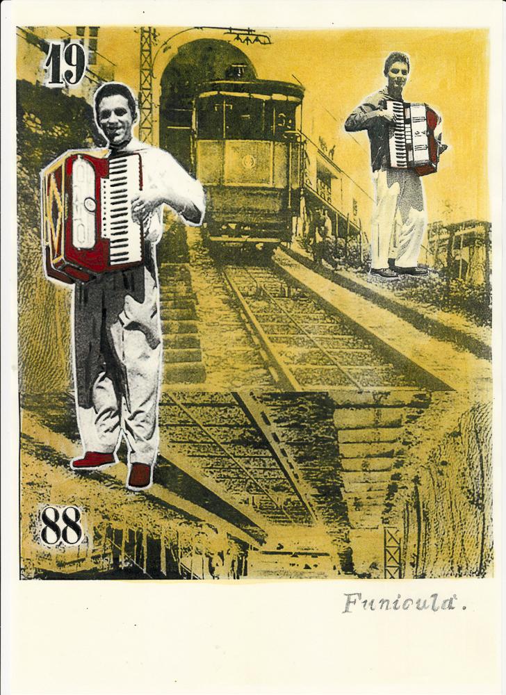 funiculà_La canzone Napolitana, 2017, di Roberto De Simone, edizione Einaudi, Torino, editing grafico, stampa digitale su cartoncino, con interventi di ritocco pittorico, cm 30x40