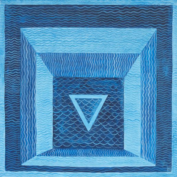 Omaggio a Josef Albers Acqua Anno 2013 polimaterico e pittura acrilica su MDF cm 110x110