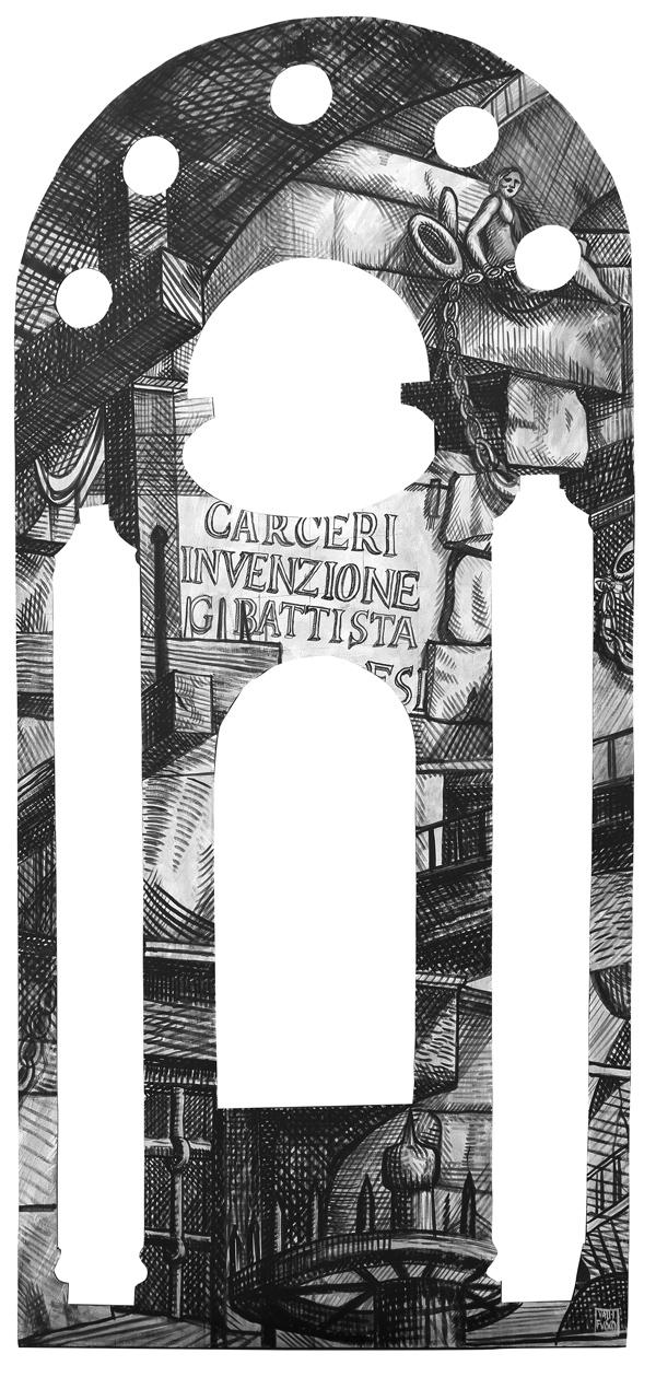 Omaggio a Gian Battista Piranesi, L'Acqua, elemento scenografico, acrilico su tavola cm 250x120
