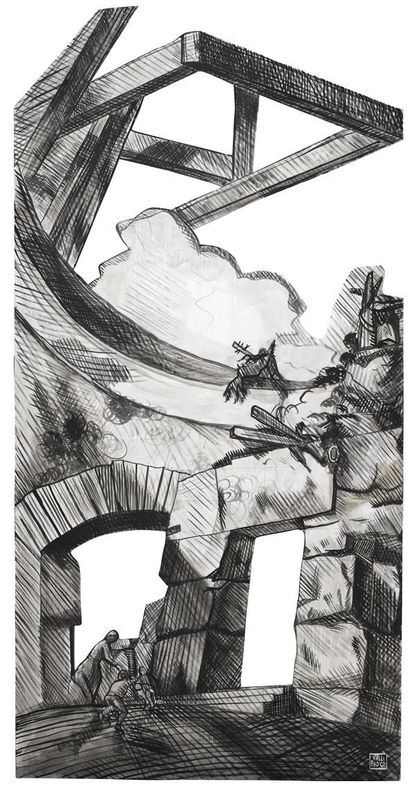 Omaggio a Gian Battista Piranesi, L'Aria, elemento scenografico, acrilico su tavola cm 250x120