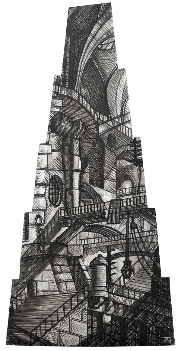 Omaggio a Gian Battista Piranesi, Il Fuoco, elemento scenografico, acrilico su tavola cm 250x120