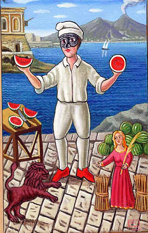 Agosto 2000 allegoria dei mesi olio su tela cm 25x45