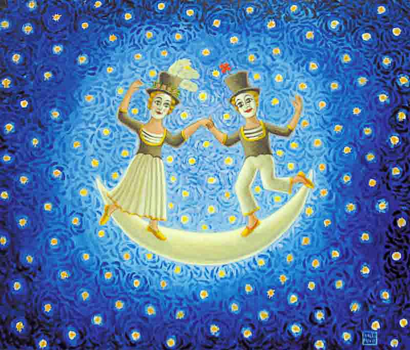 Danzatori 2009 omaggio a Macel Marceau olio su tela cm 60x50