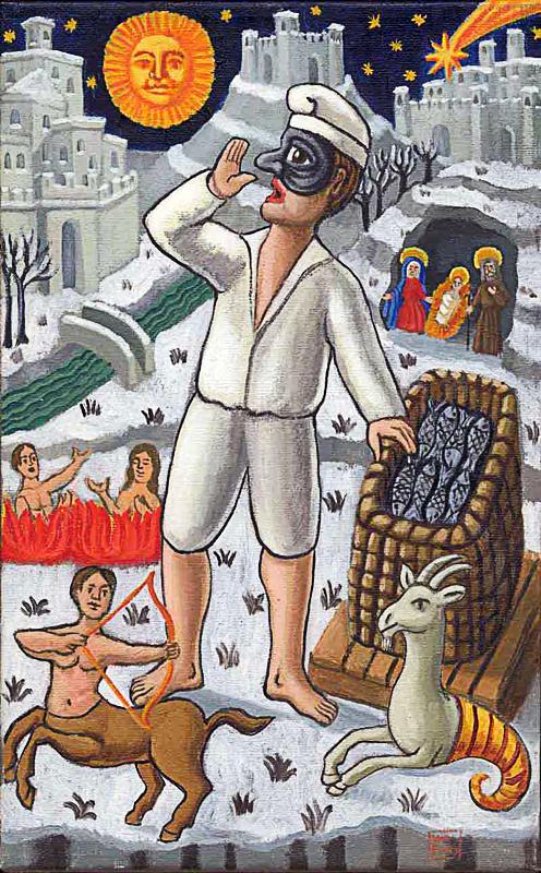 Dicembre 2000 allegoria dei mesi olio su tela cm 25x45