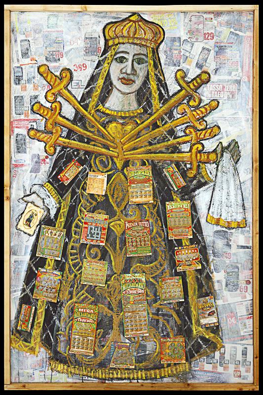 Eudemonica, o l'arte di essere felici Giffoni film festival 2012 tecnica mista e collage su tavola cm 100x150