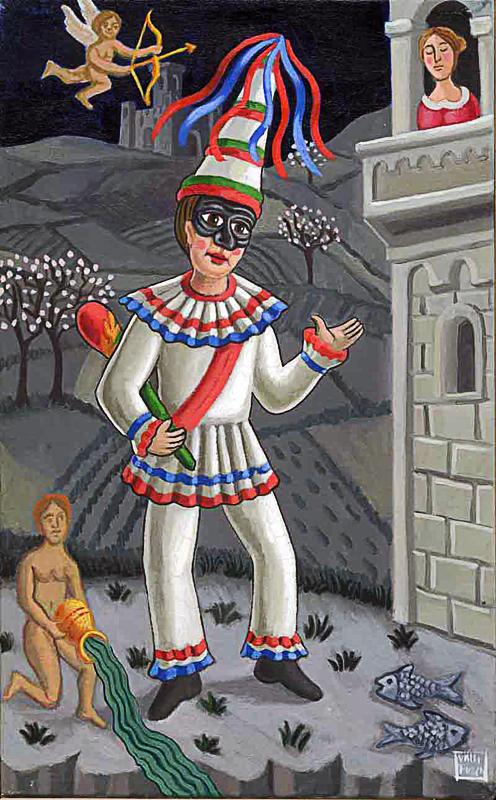 Febbraio 2000 allegoria dei mesi olio su tela cm 25x45
