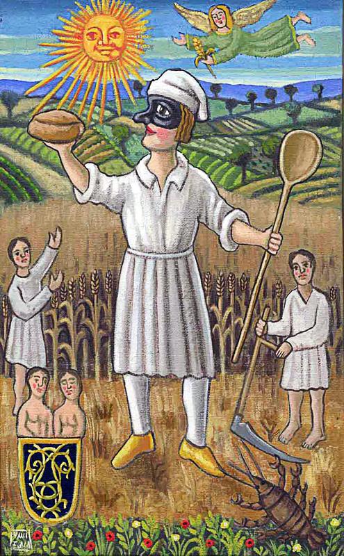 Giugno 2000 allegoria dei mesi olio su tela cm 25x45