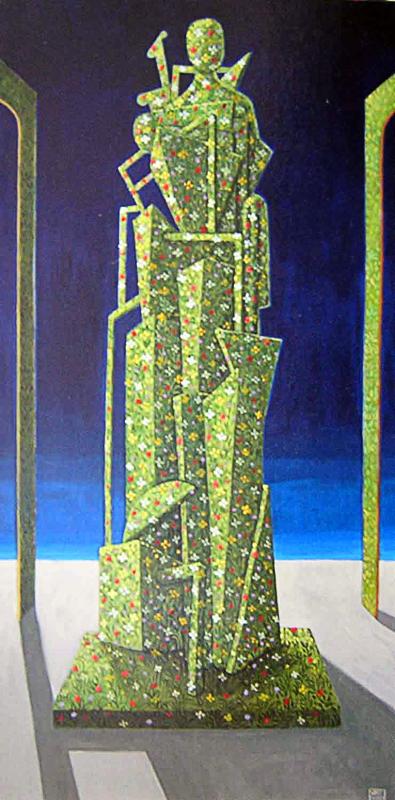 Il grande giardino metafisico 2007 omaggio a Giorgio De Chirico tempera acrilica su tela cm 40x80