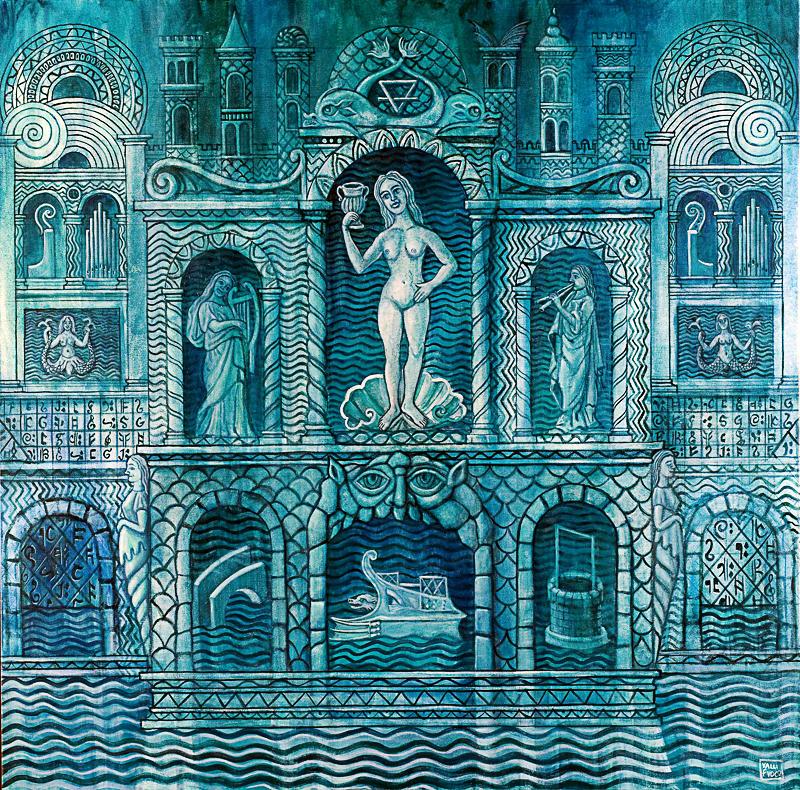 Il palazzo della dea dell'acqua 2009 olio su tela cm 100x100