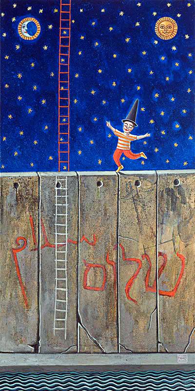 Il sogno di Itamar 2007 omaggio a David Grossman tempera acrilica su tela cm 40x80