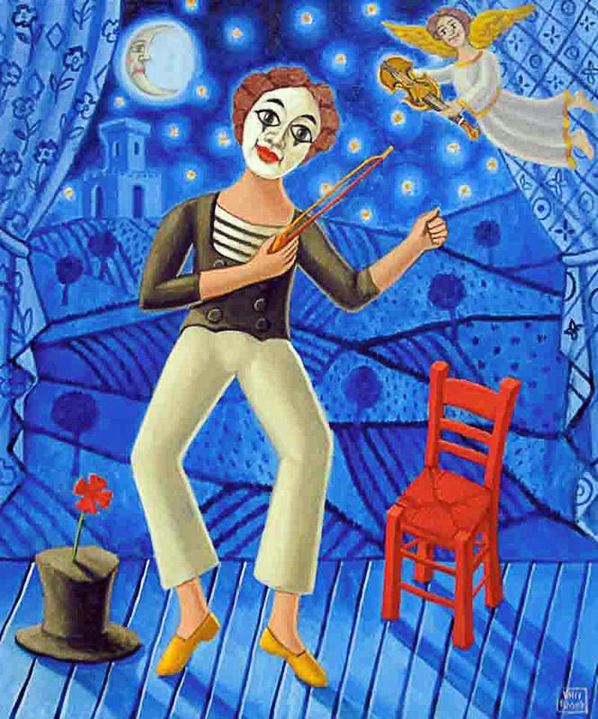 Il violinista 2010 omaggio a Macel Marceau olio su tela cm 35x50