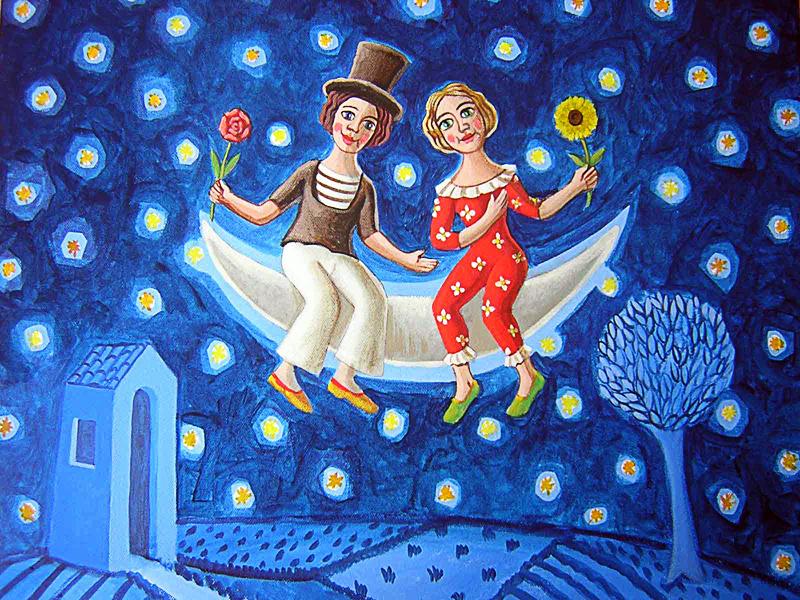 Innamorati 2010 omaggio a Macel Marceau olio su tela cm 60x50