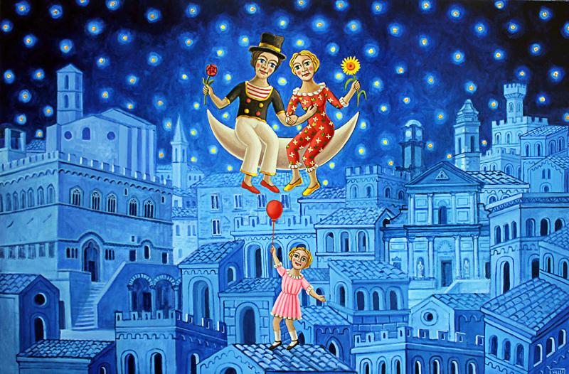 Innamorati con bambina e palloncino 2012 olio su tela cm 120x80