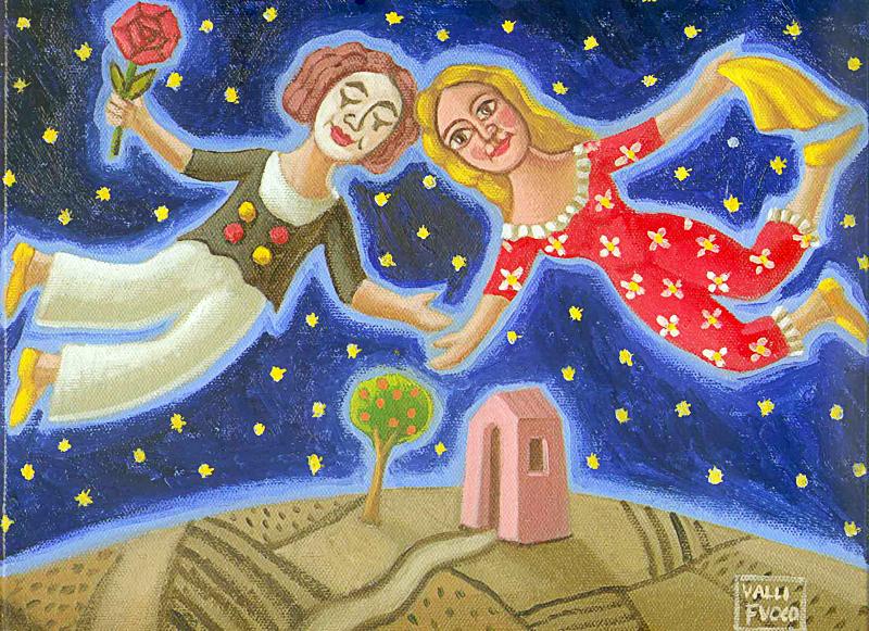 L'amore 2010 omaggio a Macel Marceau olio su tela cm 40x30