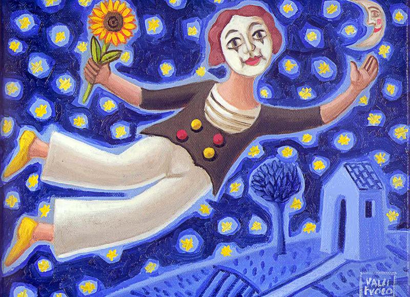 L'innamorato 2010 omaggio a Macel Marceau olio su tela cm 40x30