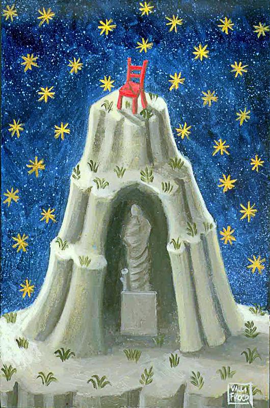 L'oracolo 2009 omaggio a Giorgio De Chirico olio su tavola cm 24x30