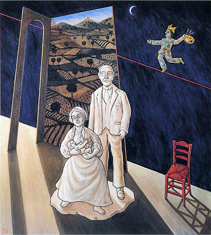 La famiglia dell'artista da giovane 2003 Olio su tela cm 80x90