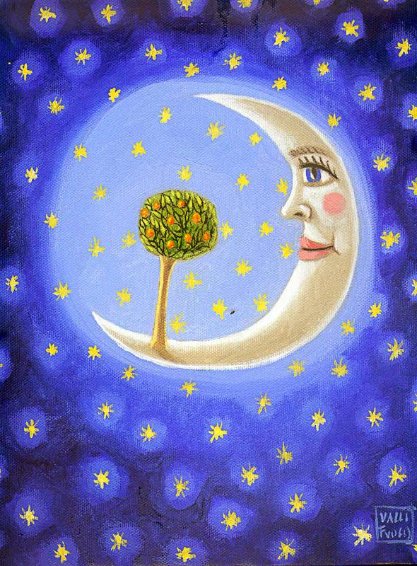 Luna con albero della vita 2010 olio su tela cm 30x40