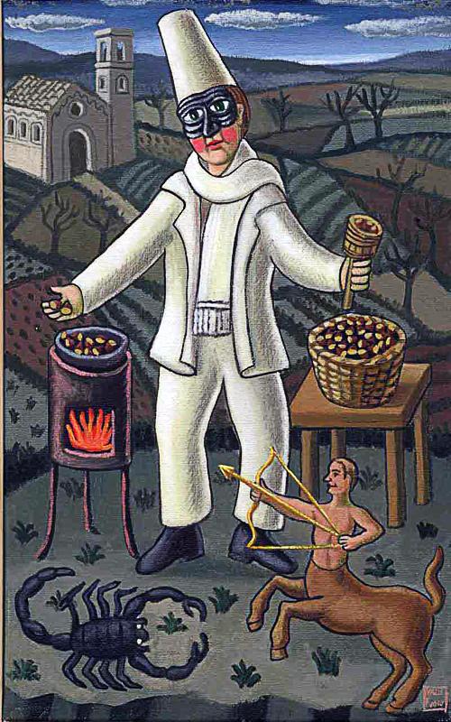 Novembre 2000 allegoria dei mesi olio su tela cm 25x45