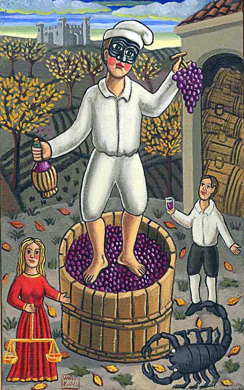 Ottobre 2000 allegoria dei mesi olio su tela cm 25x45