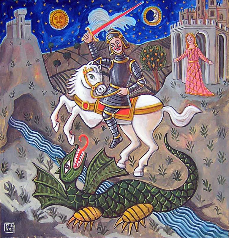 San Giorgio e il drago 2001 olio su tela cm 80x90
