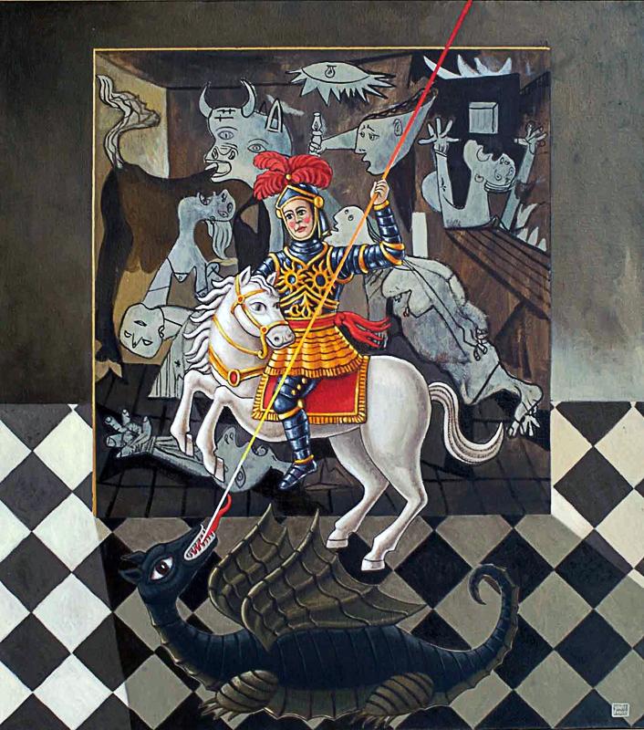 San Giorgio e il drago aprile 2009 tempera acrilica su tela cm 80x90