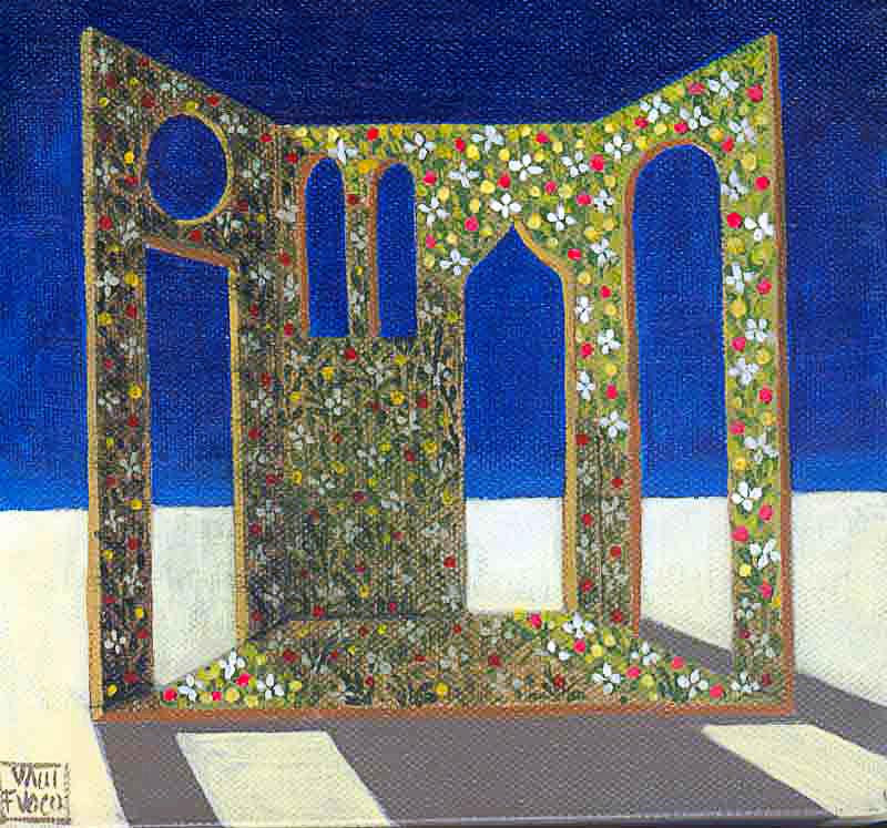 Teatri di verzura 2007 tempera acrilica su tela cm 20x20