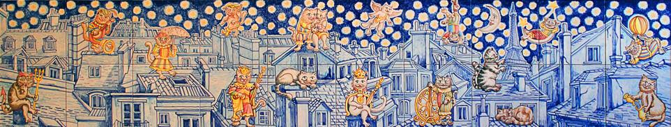 Allegorie con gatti sui tetti di Parigi Pannello in Ceramica Anno 2014 cm 40x200