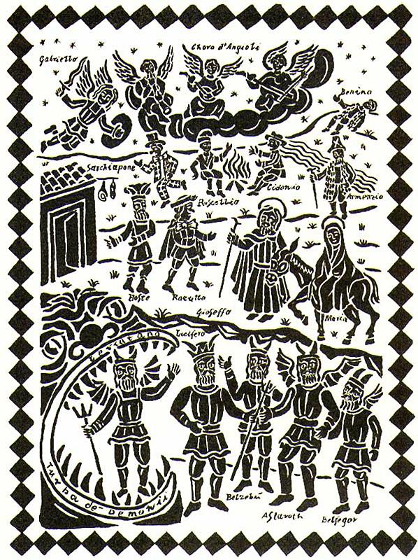 La cantata dei pastori, 2000, Tavola ad inchiostro di china su carta, cm 30x40