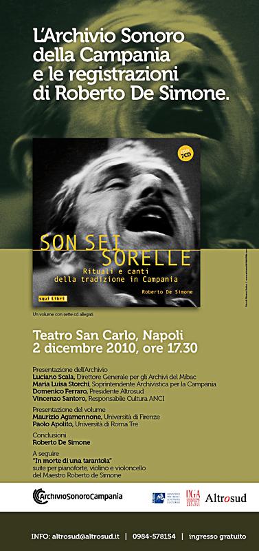 Locandina spettacolo L'archivio sonoro della Campania e le registrazioni di Roberto De Simone 2010 Teatro San Carlo Napoli