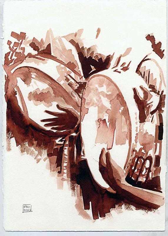 Son sei sorelle rituali e canti della tradizione in Campania, 2010, di Roberto De Simone, edizioni Squilibri, Roma, tavola a mordente su carta di Amalfi, cm 30x40 4