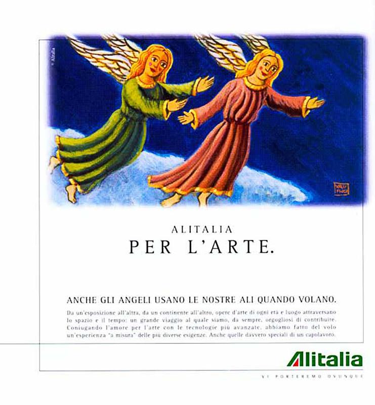 illstrazione per la campagna pubblicitaria aziendale per il trasporto di opere d'Arte nel mondo, a cura di ALITALIA per l'arte 1997, tavola Olio su tela cm 40x30