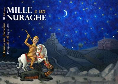 """Illustrazione originale per il manifesto della manifestazione """" Festival della valle dei Nuraghi, o dell' Arte del raccontare """""""
