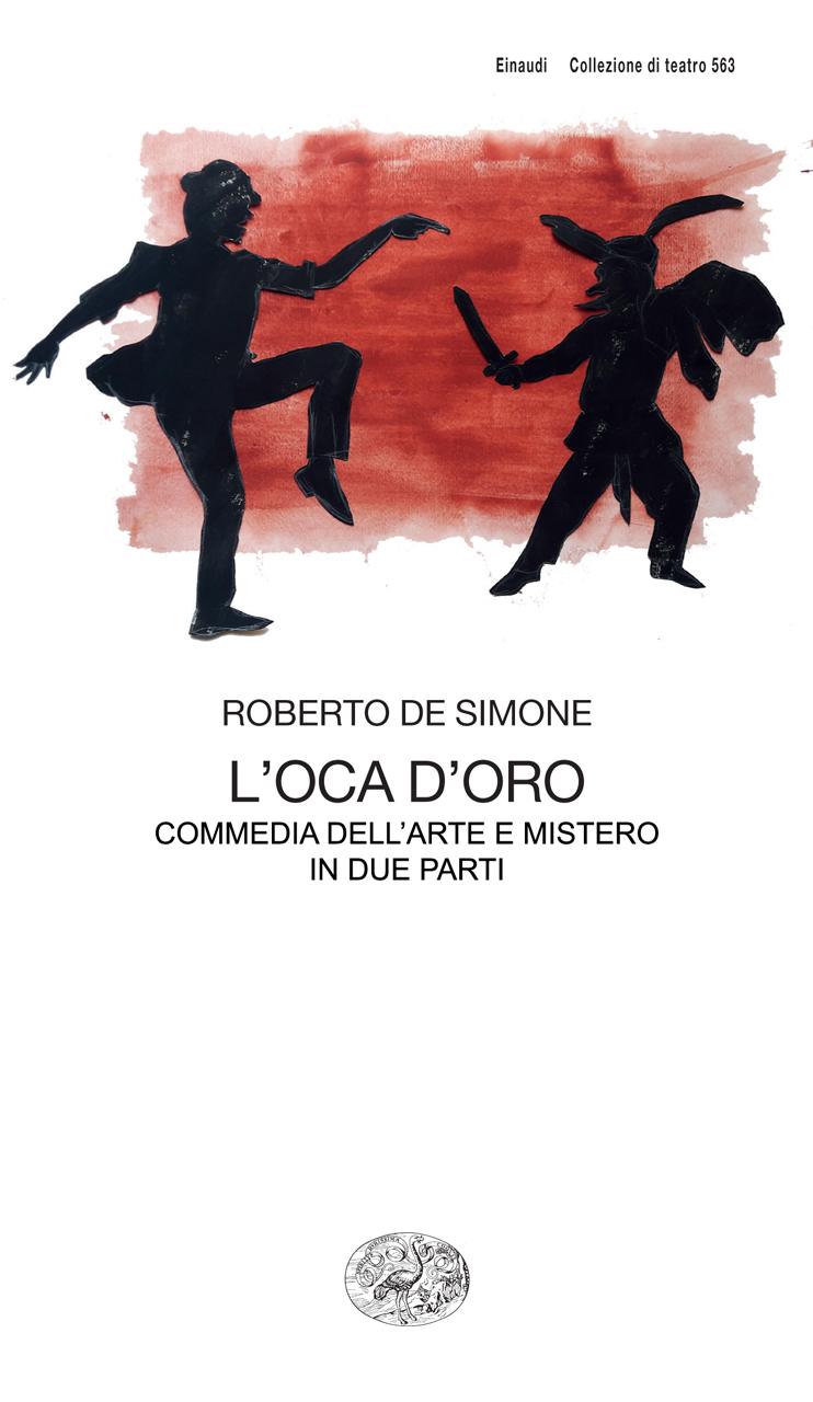 L'oca d'oro 2019 di Roberto De Simone, edizione Einaudi, Torino, collage di carta colorata dipinta ad acrilico e interventi con matita bianca, cm 50x70