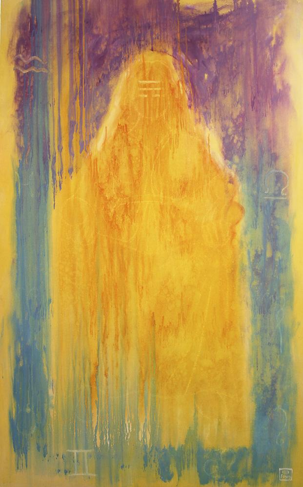 MATER MATUTA 2018, allegoria degli elementi: Aria olio su tela incollata su tavola cm 94.5x60x5