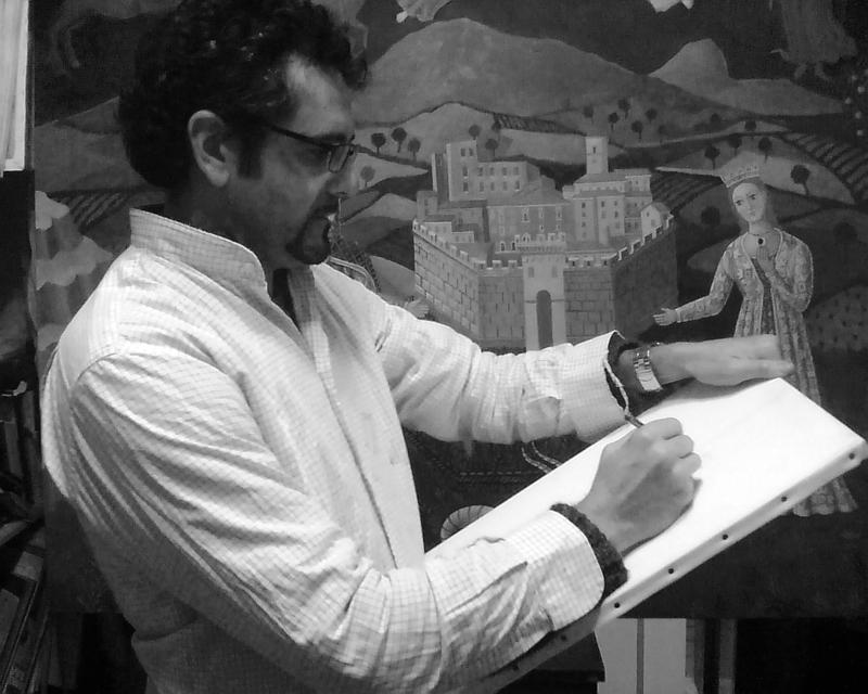 Gennaro Vallifuoco mentre dipinge