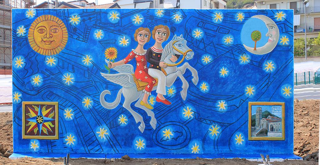 Giffoni Experience 2017 Viaggio nel Tempo anno 2017 pittura acrilica su muro mt 3x6