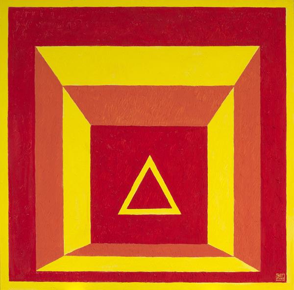 Omaggio a Josef Albers Fuoco Anno 2013 polimaterico e pittura acrilica su MDF cm 110x110