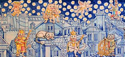 Allegorie con gatti sui tetti di Parigi