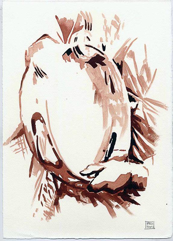 Son sei sorelle rituali e canti della tradizione in Campania, 2010, di Roberto De Simone, edizioni Squilibri, Roma, tavola a mordente su carta di Amalfi, cm 30x40