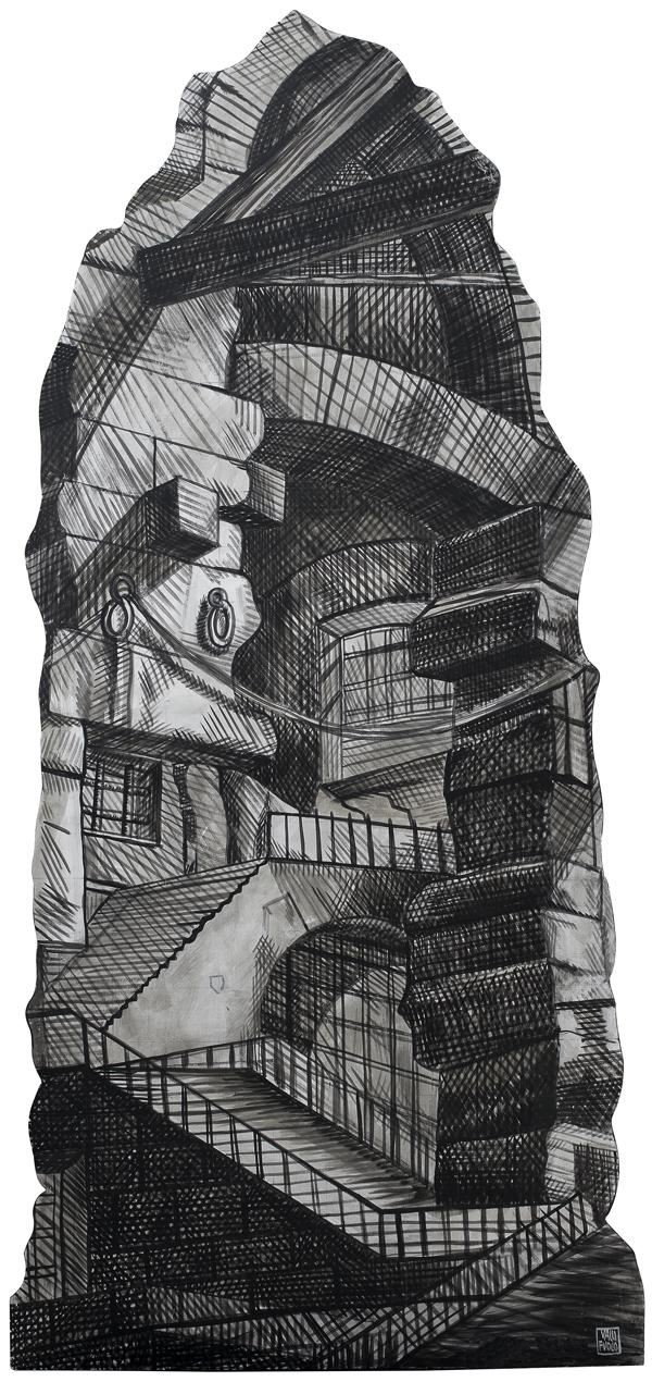 Omaggio a Gian Battista Piranesi, La Terra, elemento scenografico, acrilico su tavola cm 250x120