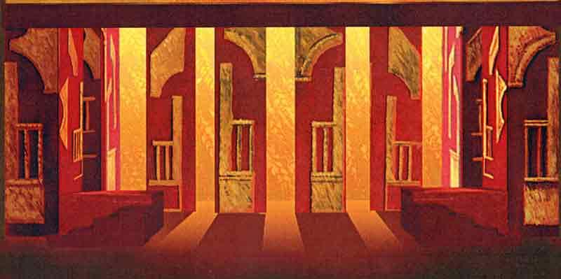 Bozzetto di scena Dido and Aeneas anno 2003, Opera lirica in tre atti e quattro quadri, musica di Henry Purcell su libretto di Nahum Tate, regia e coreografie di: Alessandra Petitti, Auditorium del Conservatorio di Musica Domenico Cimarosa di Avellino