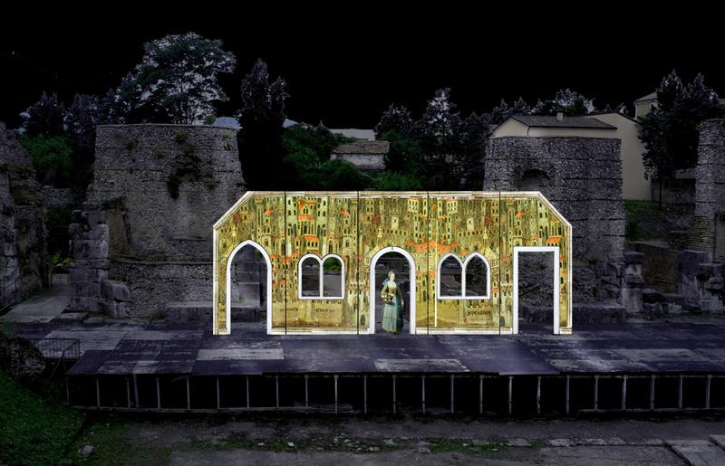 Bozzetto di scena - Gianni Schicchi Anno 2014 opera in un atto di: Giacomo Puccini Libretto di: Gioacchino di Forzano Regia: Emanuele Di Muro Teatro Romano Benevento, 31 Agosto 2014.