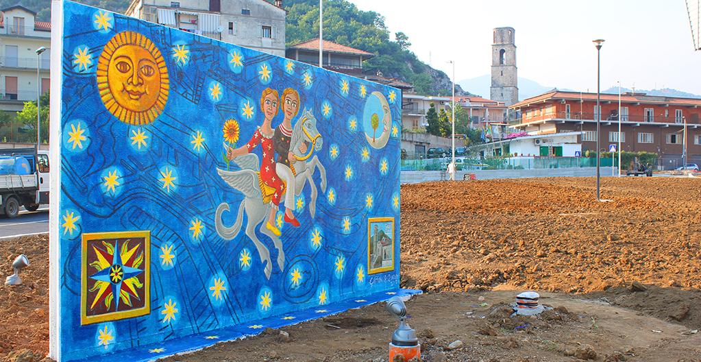 Viaggio nel Tempo anno 2017 pittura acrilica su muro mt 3x6_3